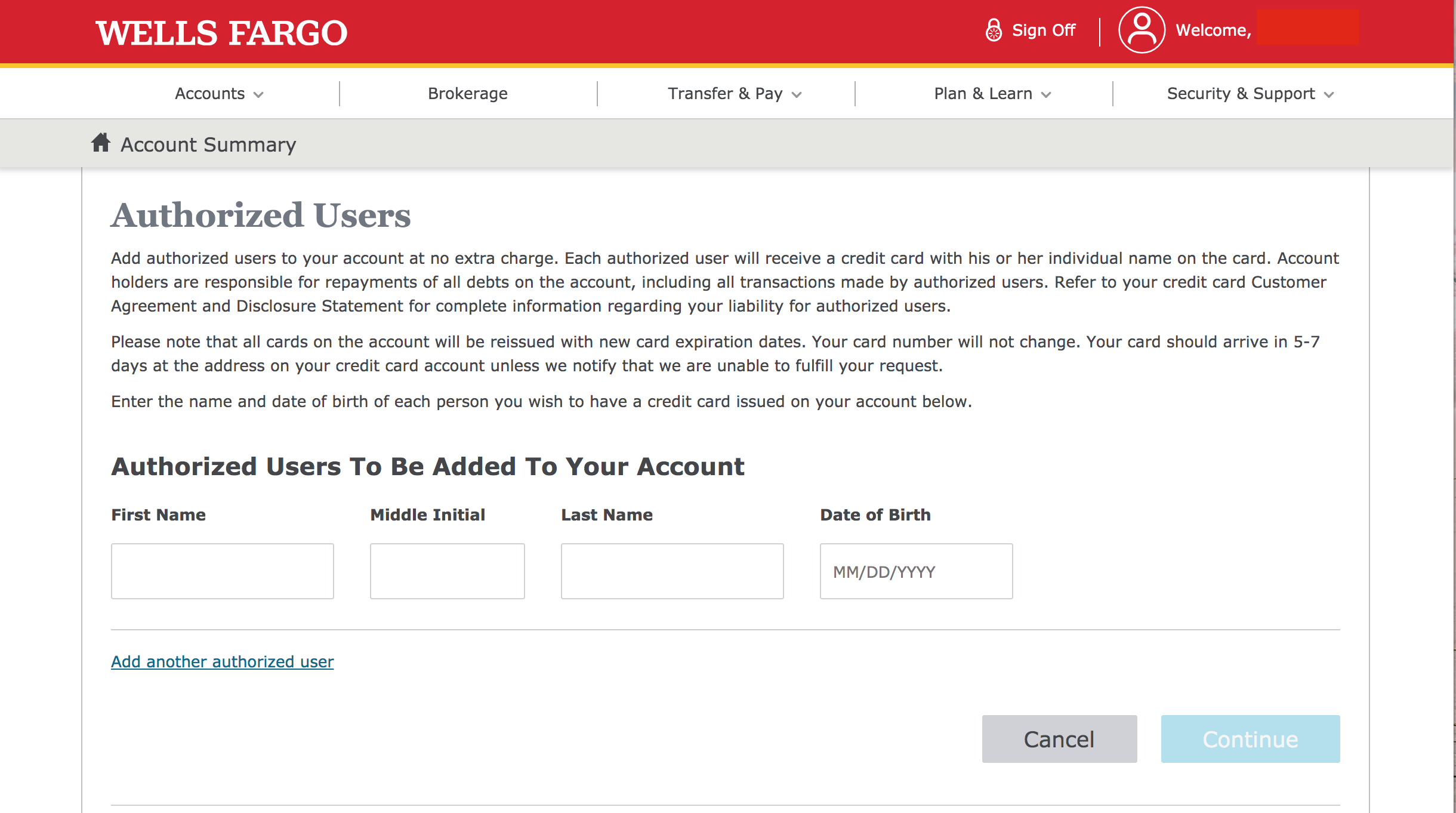 How to add an authorized user to a Wells Fargo card - Atlanta Dealer Solutions